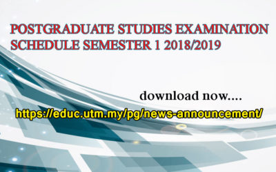 POSTGRADUATE STUDIES EXAMINATION SCHEDULE SEMESTER 1 2018/2019