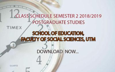 Class Schedule Semester 2 2018/2019 Postgraduate Studies