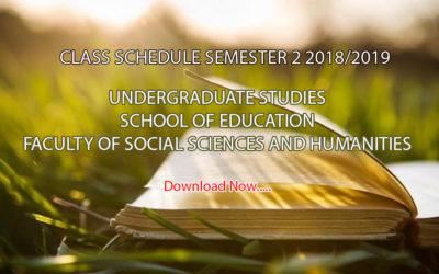 Class Schedule Semester 2 2018/2019