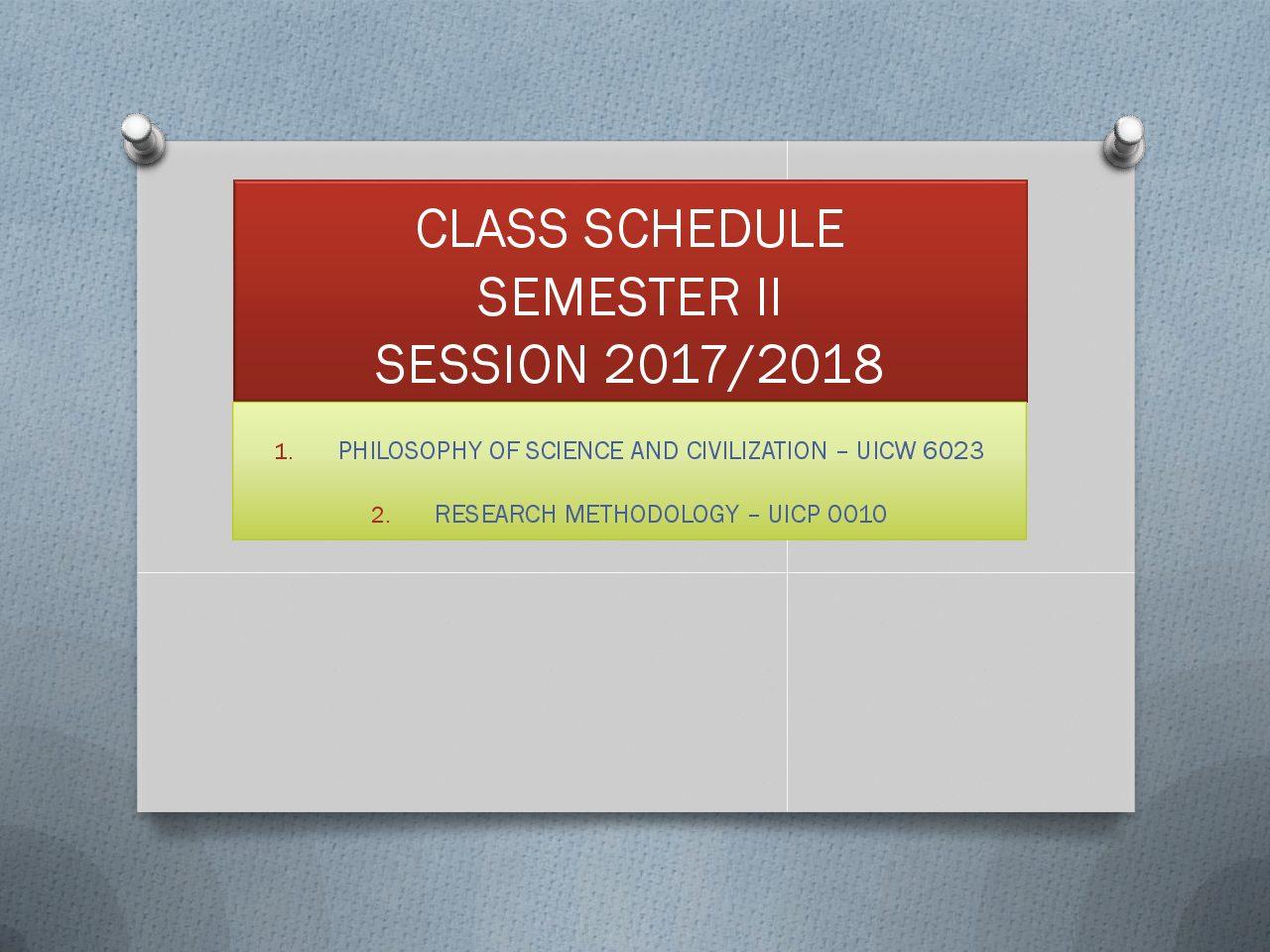 Jadual Kuliah PG Sem 2 2017 2018