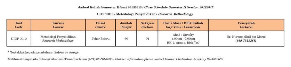 Class Schedule – UICP0010 | Semester II 2018/2019