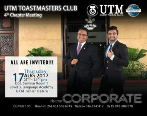 UTM TOASTMASTERS CLUB – 4TH CHAPTER MEETING 2017/2018