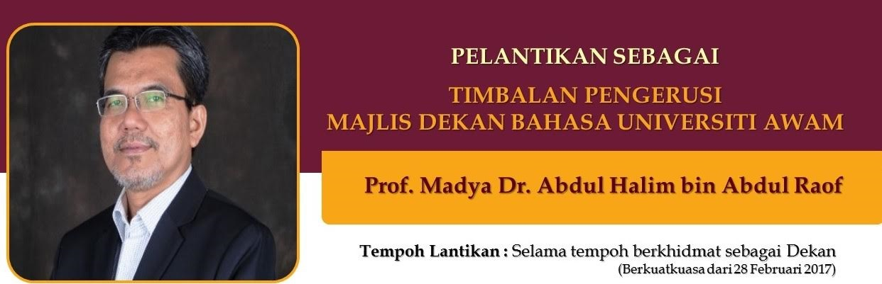 TAHNIAH PROF MADYA DR ABDUL HALIM ABD RAOF