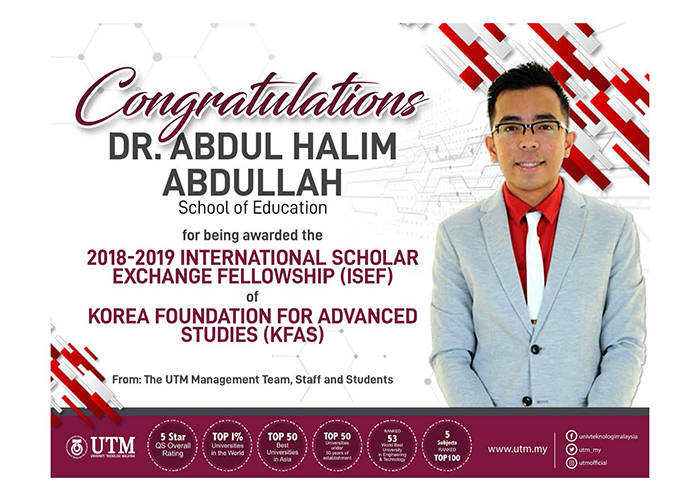 Congratulations Dr. Abdul Halim Abdullah